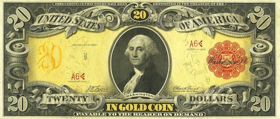 APHA Gold Certificate $20 polychrome 1905 (obv)