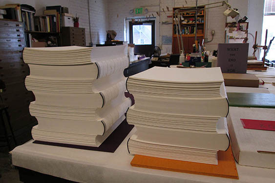 Arion Press bindery. (Val Lucas)