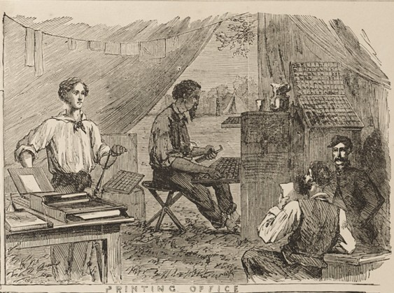 Fig. 4. Setting type and printing, Printing Office, Union Army of the Potomac (ca. 1863) from The Pictorial Battles of the Civil War (New York: Sherman Publishing, 1885) by Benjamin La Bree et al. (Courtesy of the Smithsonian Institution Libraries)