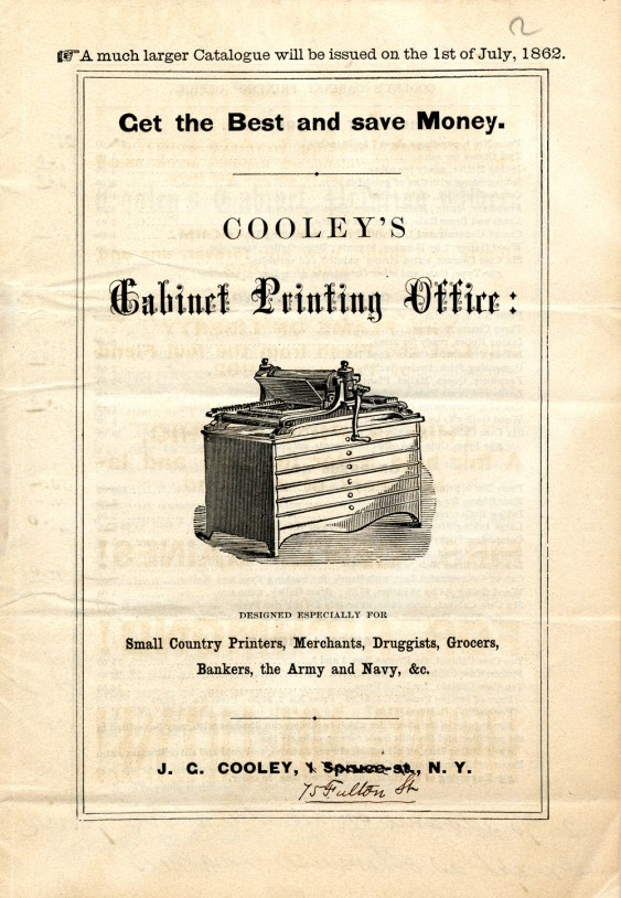 Fig. 3. Advertising brochure for Cooley's Cabinet Printing Office (ca. July 1862). (Courtesy of the Smithsonian Institution, National Museum of American History, Graphic Arts Collection)