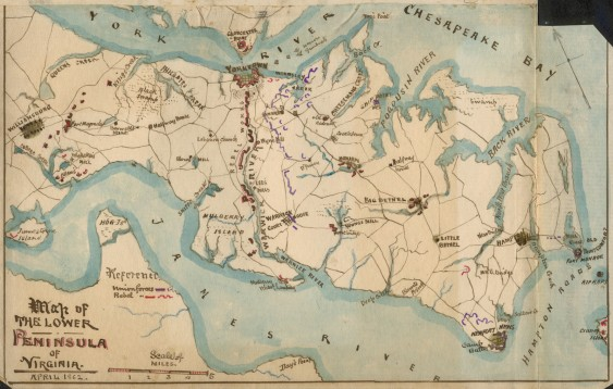 """Fig. 5. """"Map of the Lower Peninsula of Virginia, April 1862,"""" by Robert Knox Sneden. (Courtesy of the Virginia Historical Society)"""