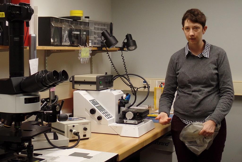 Image Permanence Institute's Alice Carver-Kubik in the Microsocopy Lab. (Dianne L. Roman)
