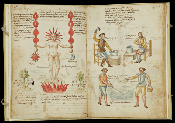 Depicting Alchemical Process Claudio de Domenico Celentano (Neapolitan, fl. early 17th cen) Gouache on paper  [Book of alchemical formulas] (Naples, 1606), pp. 6-7 950053.123 http://hdl.handle.net/10020/950053b22