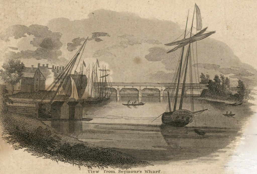 """Fig. 3. """"View from Seymour's Wharf"""" by A. Willard, a vignette from the """"Plan of the City of Hartford from a Survey Made in 1824."""" Hartford: D. St. John and N. Goodwin, 1824 (Courtesy of Library of Congress, Geography and Map Division)"""