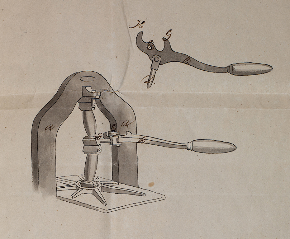 Fig. 8. Drawing sewn into the letters patent for Wells lever printing press, granted on June 29, 1829. Courtesy of Graphic Arts Collection, National Museum of American History, Smithsonian Institution.