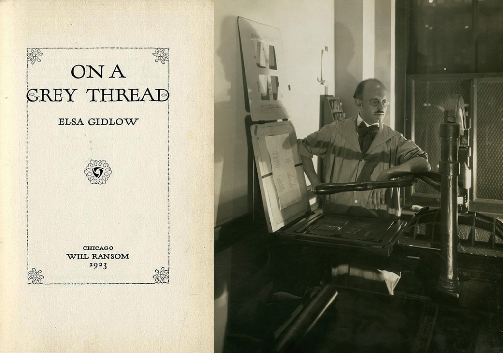 Will Ransom in his print shop, ca. 1925 (John M. Wing Foundation on the History of Printing, Newberry Library)