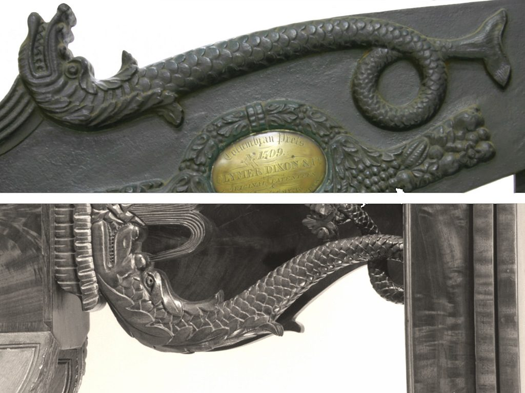 Philadelphia Dolphins: Clymer's Dolphin compared with table support by Philadelphia Cabinetmaker. (Top: Detail, great lever dolphin,1851 Clymer, Dixon, & Co., serial no. 1509, © Museum Victoria/CC BY. Bottom: Detail, dolphin support. Card table, probably Henry Connelly, 1815–1820, Philadelphia. Public domain, OASC. Metropolitan Museum of Art, 2000–16)