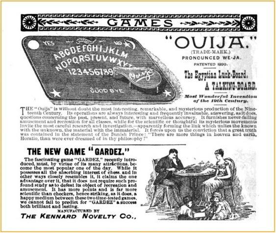Early Ouija Advertisement, Lippincott Monthly Magazine, 1891 (Jesse R. Erickson)