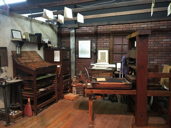 A reproduction of an early American print shop. (Jess Touchette)