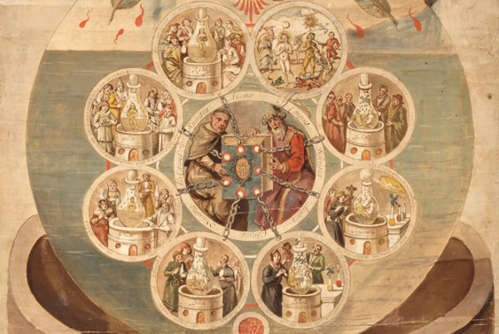 Alchemists revealing secrets from the Book of Seven Seals, detail of watercolor in The Ripley Scroll, England, ca. 1700. (Getty Research Institute, 950053)