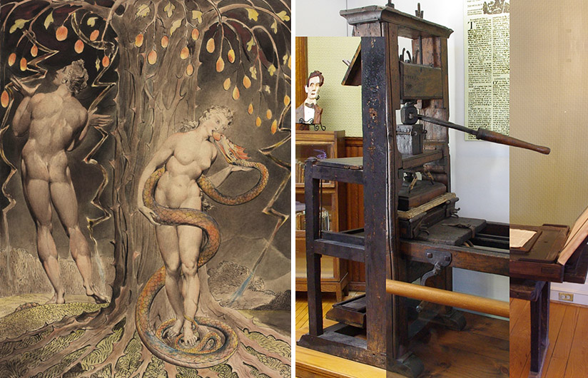 "L: Blake's ""The Temptation and Fall of Eve,"" 1808. One of the illustrations in Milton's ""Paradise Lost,"" The Butts Set. (William Blake Archive). R: A composite of three common presses from the early, middle, and late eighteenth century. (Seth Gottlieb)"