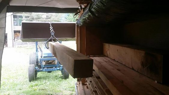 A view from inside the kiln as the beams are loaded inside. (Image courtesy Brent Feldweg)