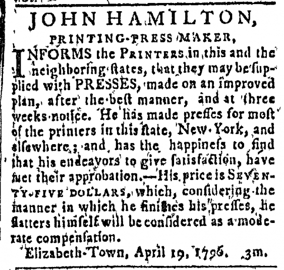 John Hamilton's ad in the New Jersey Journal, 1796.